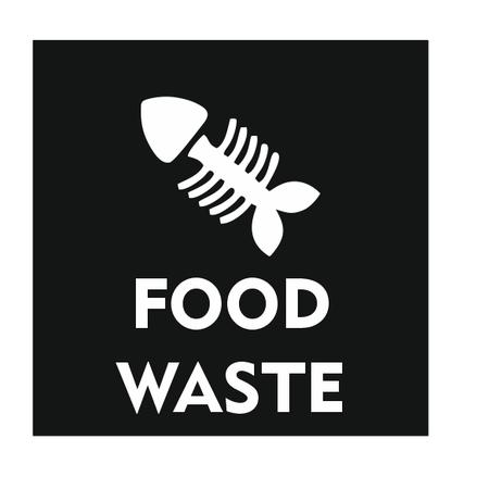 CombiCraft Food Waste Only met visgraat bordje 10x10cm