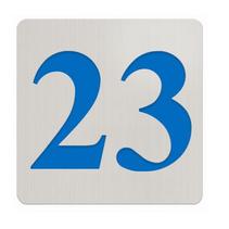 Edelstaal nummerbordje met plexiglas achterkant