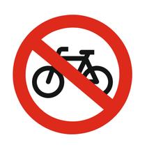 Verboden voor fietsen bordje