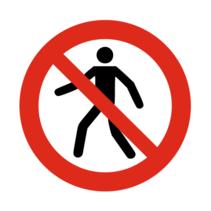 Verboden voor voetgangers bordje