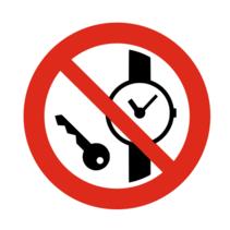 Metalen voorwerpen verboden bordje