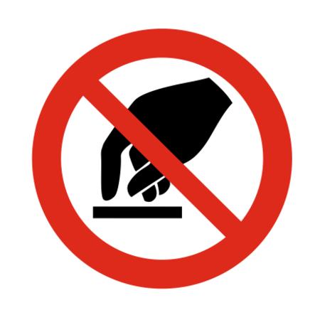 CombiCraft Aanraken verboden bordje ISO 7010 P010 Aluminium Ø75mm met tape