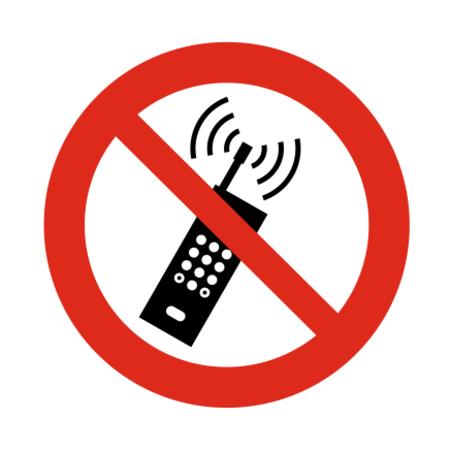 CombiCraft Draagbare telefoon verboden bordje ISO 7010 P013 Aluminium Ø75mm met tape