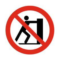 Verboden te duwen bordje