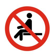Verboden te zitten bordje