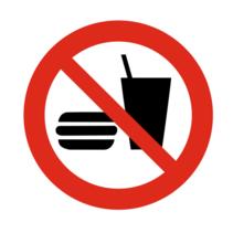 Eten en drinken verboden bordje