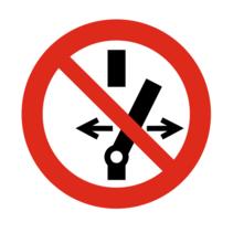 Verboden schakelaar aan te passen bordje