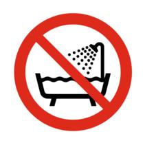 Niet gebruiken in bad, douche of water bordje