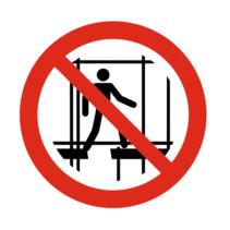 Verboden onafgewerkte stelling gebruiken bordje