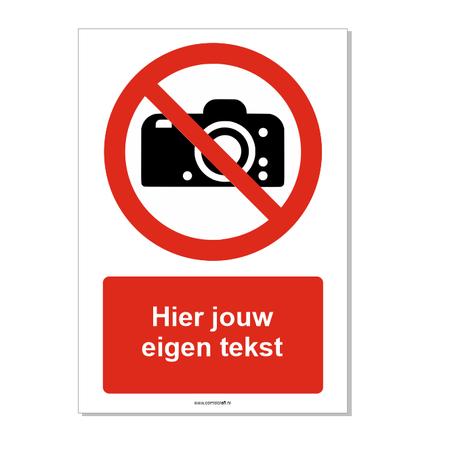 CombiCraft Fotograferen verboden bord ISO 7010 P029 met eigen tekst 21x30 cm