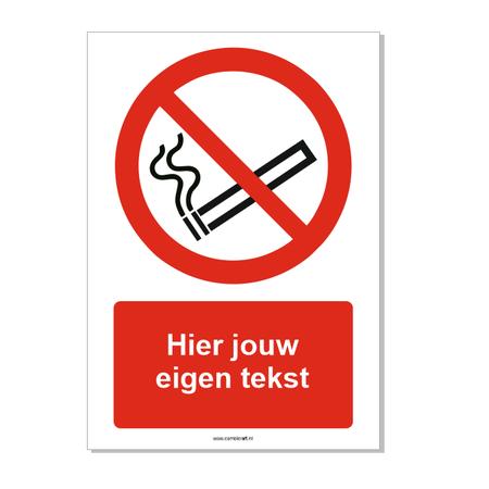 CombiCraft Verboden te roken bord ISO 7010 P002 met eigen tekst 21x30 cm