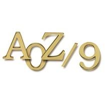Kleine 3D letters en cijfers gepolijst messing