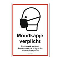 Mondkapje verplicht in 4 talen bordje bord
