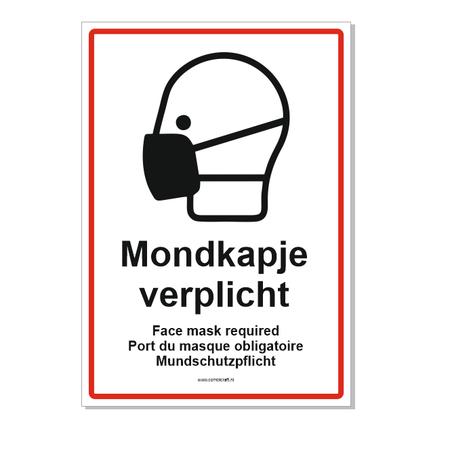 CombiCraft Mondkapje verplicht bordje met 4 talen 21x30cm
