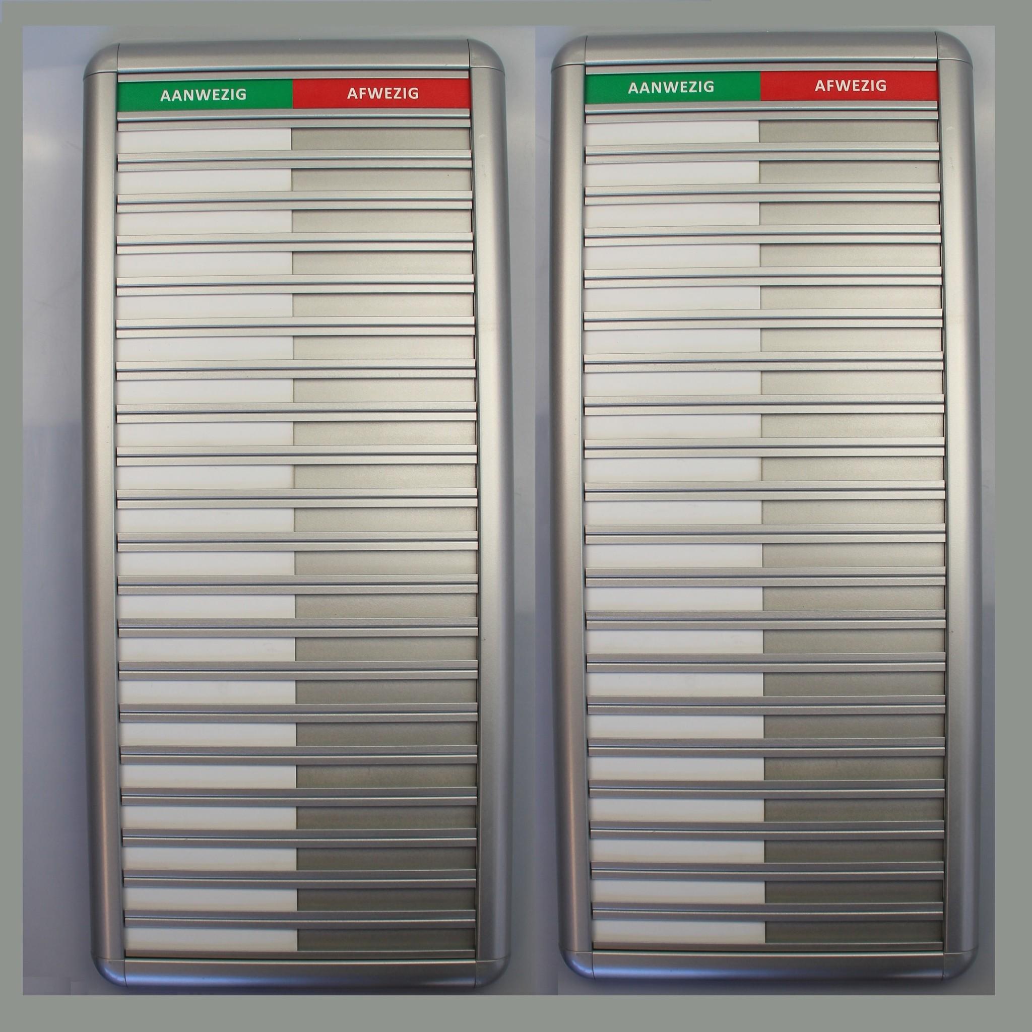 CombiCraft Aluminium Aanwezigheidsbord - Afwezigheidsbord voor 20 personen