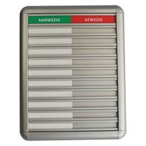 Aluminium Aanwezigheidsbord - Afwezigheidsbord, 10 namen