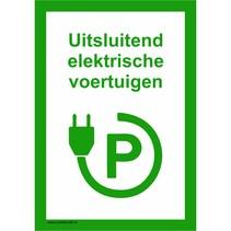 Uitsluitend elektrische voertuigen bord
