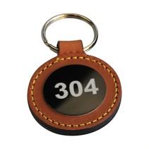 Ronde leren sleutelhanger met nummering