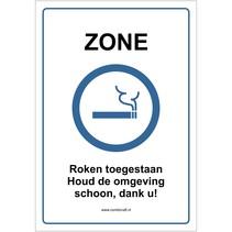 Zone, Roken toegestaan bord