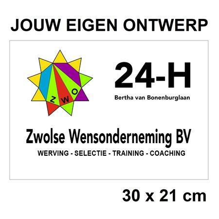 CombiCraft Liggend Bedrijfsbordje gemaakt naar jouw wens in 21x30cm (ca. A4)