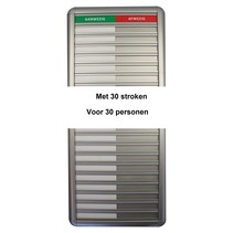 Aanwezigheidsbord Aluminium 30 namen