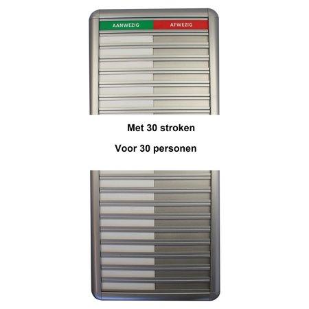 CombiCraft Aluminium Aanwezigheidsbord - Afwezigheidsbord voor 30 personen