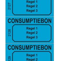 Consumptiebonnen met tekst en nummering