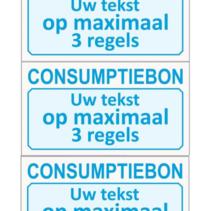 Consumptiebonnen met tekst in kleur