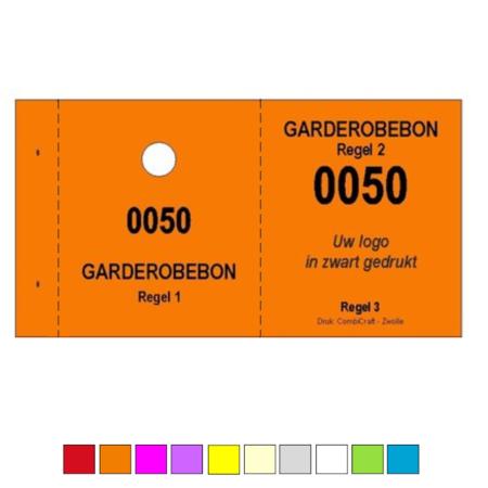 CombiCraft Garderobebonnen in boekjes met ophanggat en jouw eigen tekst en logo per 1000 bonnen