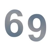 RVS Cijfers in 3D met grijze poedercoating