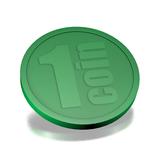 CombiCraft Plastic munten, Consumptiemunten met opdruk 1 Coin, met rand 250 stuks Ø29mm diverse kleuren