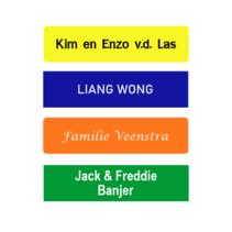 Gekleurd Kunststof naamplaatje met tape