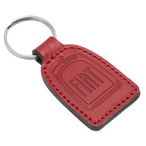 Leren sleutelhanger FIAT met jouw logo en tekst