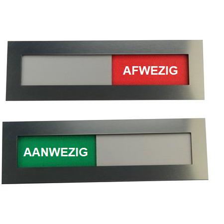 CombiCraft Aanwezig - Afwezig bordjes Acrylaat schuifbordje in RVS-Look