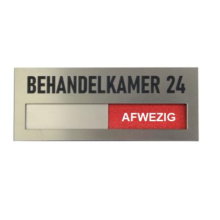 CombiCraft Aanwezig - Afwezig bordjes Acrylaat schuifbordje in RVS-Look met een koptekst naar keuze