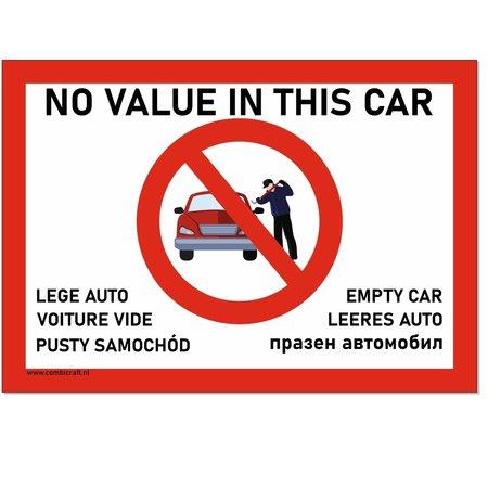 CombiCraft Bordje - Geen waarde in de auto - Lege Auto bordje in 6 talen in 21x30cm (Nederlands, Frans, Pools, Duits, Bulgaars en Engels)