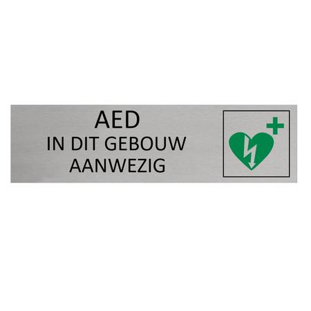 CombiCraft Aluminium Deurbordje AED in dit gebouw aanwezig 165x45mm met tape