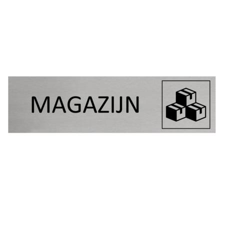 CombiCraft Aluminium Deurbordje Magazijn 165x45mm met tape