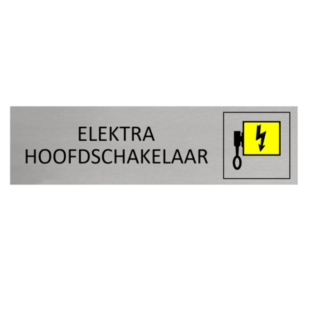 CombiCraft Aluminium Deurbordje Elektra Hoofdschakelaar 165x45mm met tape