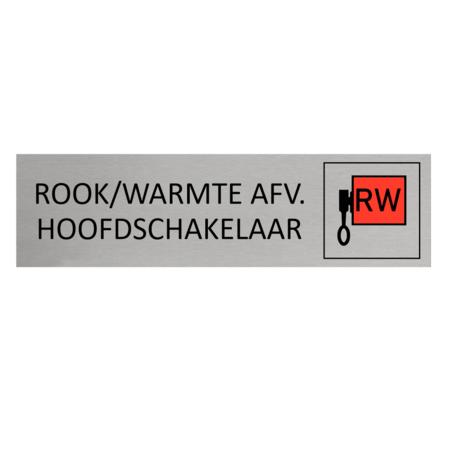 CombiCraft Aluminium Deurbordje Rook / Warmte Afvoer Hoofdschakelaar 165x45mm met tape