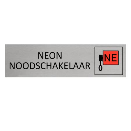 CombiCraft Aluminium Deurbordje Neon Noodschakelaar  165x45mm met tape