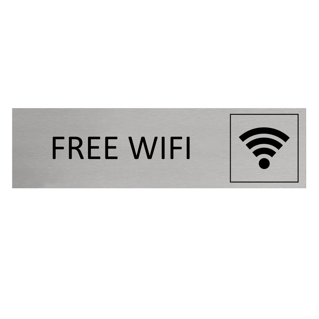 CombiCraft Aluminium Deurbordje Free Wifi 165x45mm met tape