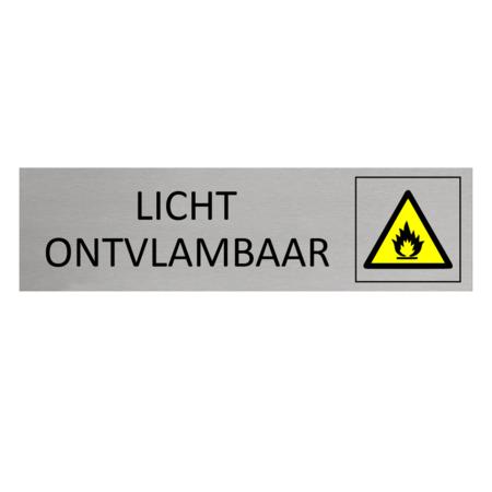 CombiCraft Aluminium Bordje Licht Ontvlambaar 165x45mm met tape