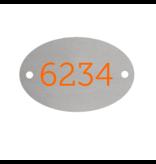 CombiCraft Nummerplaatjes Aluminium Zilver Ovaal ½mm dik met gekleurde bedrukking en 2 gaatjes links en rechts