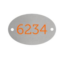 Aluminium Ovaal Zilver bedrukt 2 gaatjes L+R