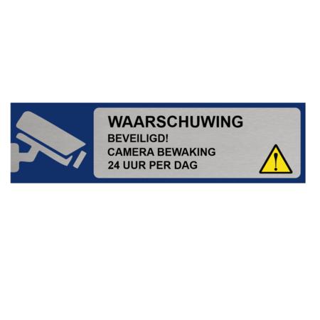 CombiCraft Aluminium Bordje Waarschuwing Camerabewaking 165x45mm met tape