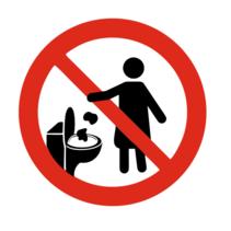 Graag niets in de WC werpen symboolbordje