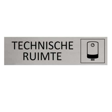 CombiCraft Aluminium Deurbordje Technische ruimte 165x45mm met tape