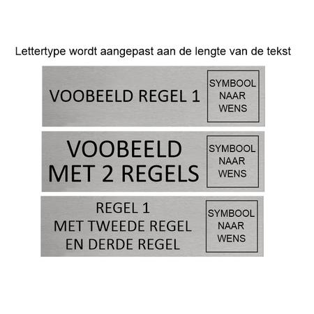 CombiCraft Aluminium Deurbordje met eigen tekst en symbool 165x45mm met tape
