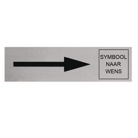 CombiCraft Aluminium Deurbordje met pijl rechts en symbool 165x45mm met tape